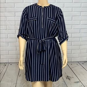 ➕Always Indigo Navy Striped Midi Dress Size 3X